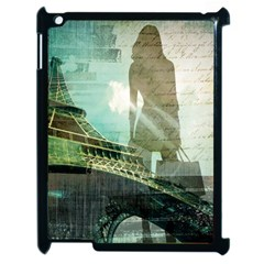 Modern Shopaholic Girl  Paris Eiffel Tower Art  Apple Ipad 2 Case (black)