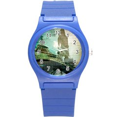 Modern Shopaholic Girl  Paris Eiffel Tower Art  Plastic Sport Watch (small)