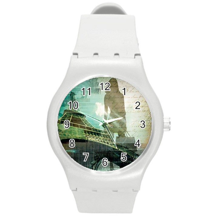 Modern Shopaholic Girl  Paris Eiffel Tower Art  Plastic Sport Watch (Medium)