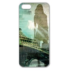 Modern Shopaholic Girl  Paris Eiffel Tower Art  Apple Seamless iPhone 5 Case (Clear)
