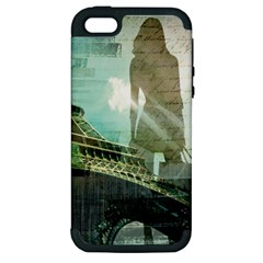 Modern Shopaholic Girl  Paris Eiffel Tower Art  Apple iPhone 5 Hardshell Case (PC+Silicone)