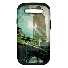 Modern Shopaholic Girl  Paris Eiffel Tower Art  Samsung Galaxy S Iii Hardshell Case (pc+silicone)