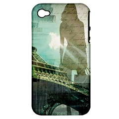 Modern Shopaholic Girl  Paris Eiffel Tower Art  Apple iPhone 4/4S Hardshell Case (PC+Silicone)