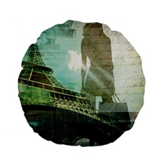 Modern Shopaholic Girl  Paris Eiffel Tower Art  15  Premium Round Cushion