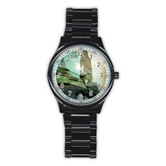 Modern Shopaholic Girl  Paris Eiffel Tower Art  Sport Metal Watch (black)