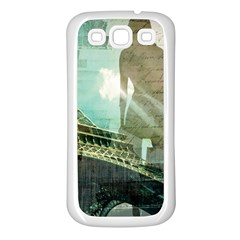 Modern Shopaholic Girl  Paris Eiffel Tower Art  Samsung Galaxy S3 Back Case (White)