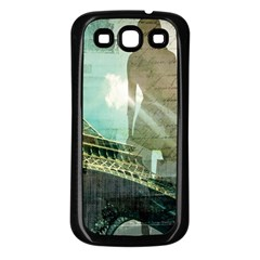 Modern Shopaholic Girl  Paris Eiffel Tower Art  Samsung Galaxy S3 Back Case (black)