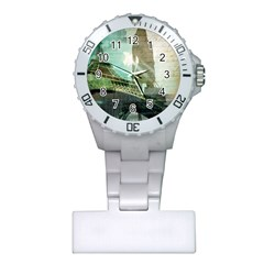 Modern Shopaholic Girl  Paris Eiffel Tower Art  Nurses Watch