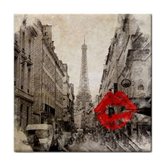 Elegant Red Kiss Love Paris Eiffel Tower Ceramic Tile