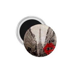 Elegant Red Kiss Love Paris Eiffel Tower 1.75  Button Magnet