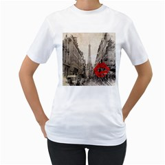 Elegant Red Kiss Love Paris Eiffel Tower Womens  T Shirt (white)