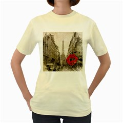 Elegant Red Kiss Love Paris Eiffel Tower  Womens  T-shirt (Yellow)
