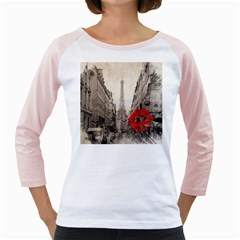 Elegant Red Kiss Love Paris Eiffel Tower Womens  Long Sleeve Raglan T-shirt (White)
