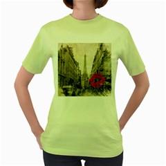 Elegant Red Kiss Love Paris Eiffel Tower Womens  T Shirt (green)