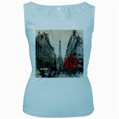 Elegant Red Kiss Love Paris Eiffel Tower Womens  Tank Top (Baby Blue)