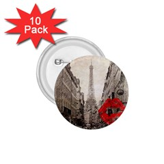 Elegant Red Kiss Love Paris Eiffel Tower 1.75  Button (10 pack)