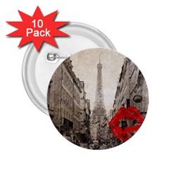 Elegant Red Kiss Love Paris Eiffel Tower 2.25  Button (10 pack)
