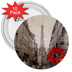 Elegant Red Kiss Love Paris Eiffel Tower 3  Button (10 pack)