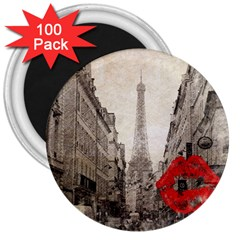 Elegant Red Kiss Love Paris Eiffel Tower 3  Button Magnet (100 Pack)