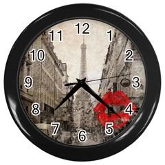 Elegant Red Kiss Love Paris Eiffel Tower Wall Clock (Black)