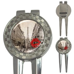 Elegant Red Kiss Love Paris Eiffel Tower Golf Pitchfork & Ball Marker