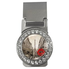 Elegant Red Kiss Love Paris Eiffel Tower Money Clip (CZ)