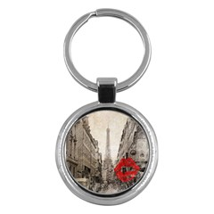 Elegant Red Kiss Love Paris Eiffel Tower Key Chain (round)