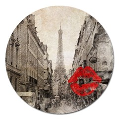 Elegant Red Kiss Love Paris Eiffel Tower Magnet 5  (Round)