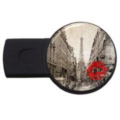 Elegant Red Kiss Love Paris Eiffel Tower 1GB USB Flash Drive (Round)