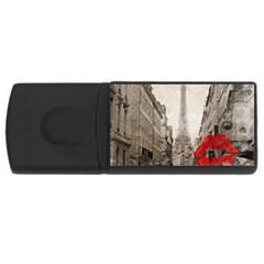 Elegant Red Kiss Love Paris Eiffel Tower 2GB USB Flash Drive (Rectangle)