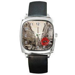 Elegant Red Kiss Love Paris Eiffel Tower Square Leather Watch