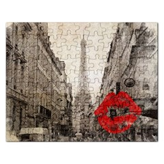 Elegant Red Kiss Love Paris Eiffel Tower Jigsaw Puzzle (Rectangle)