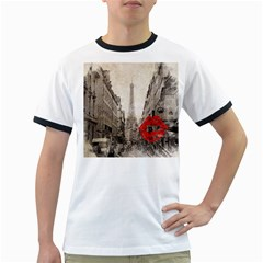 Elegant Red Kiss Love Paris Eiffel Tower Mens' Ringer T-shirt