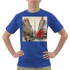Elegant Red Kiss Love Paris Eiffel Tower Mens' T-shirt (Colored)