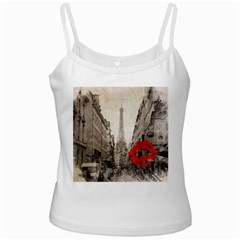 Elegant Red Kiss Love Paris Eiffel Tower White Spaghetti Top