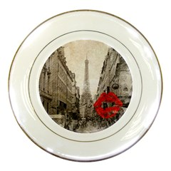 Elegant Red Kiss Love Paris Eiffel Tower Porcelain Display Plate