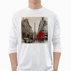 Elegant Red Kiss Love Paris Eiffel Tower Mens' Long Sleeve T Shirt (white)