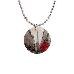 Elegant Red Kiss Love Paris Eiffel Tower Button Necklace