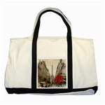 Elegant Red Kiss Love Paris Eiffel Tower Two Toned Tote Bag Front