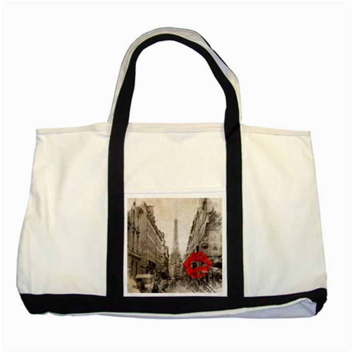 Elegant Red Kiss Love Paris Eiffel Tower Two Toned Tote Bag