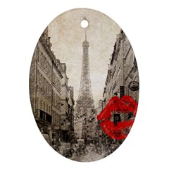 Elegant Red Kiss Love Paris Eiffel Tower Oval Ornament (Two Sides)