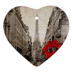 Elegant Red Kiss Love Paris Eiffel Tower Heart Ornament (Two Sides)