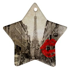 Elegant Red Kiss Love Paris Eiffel Tower Star Ornament (Two Sides)