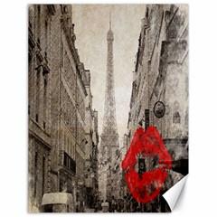 Elegant Red Kiss Love Paris Eiffel Tower Canvas 18  X 24  (unframed)