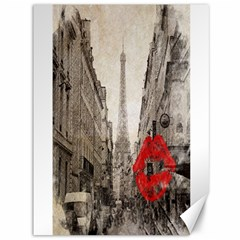 Elegant Red Kiss Love Paris Eiffel Tower Canvas 36  x 48  (Unframed)