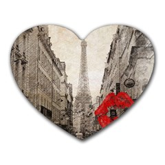 Elegant Red Kiss Love Paris Eiffel Tower Mouse Pad (Heart)