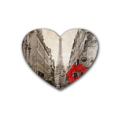 Elegant Red Kiss Love Paris Eiffel Tower Drink Coasters 4 Pack (Heart)