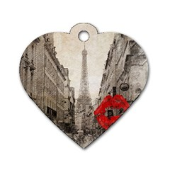 Elegant Red Kiss Love Paris Eiffel Tower Dog Tag Heart (two Sided)