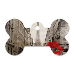 Elegant Red Kiss Love Paris Eiffel Tower Dog Tag Bone (two Sided)