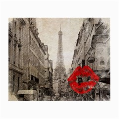 Elegant Red Kiss Love Paris Eiffel Tower Glasses Cloth (small, Two Sided)